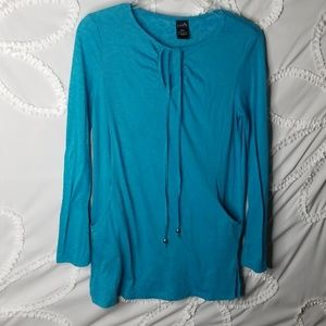 Blue Tunic Top With Pockets